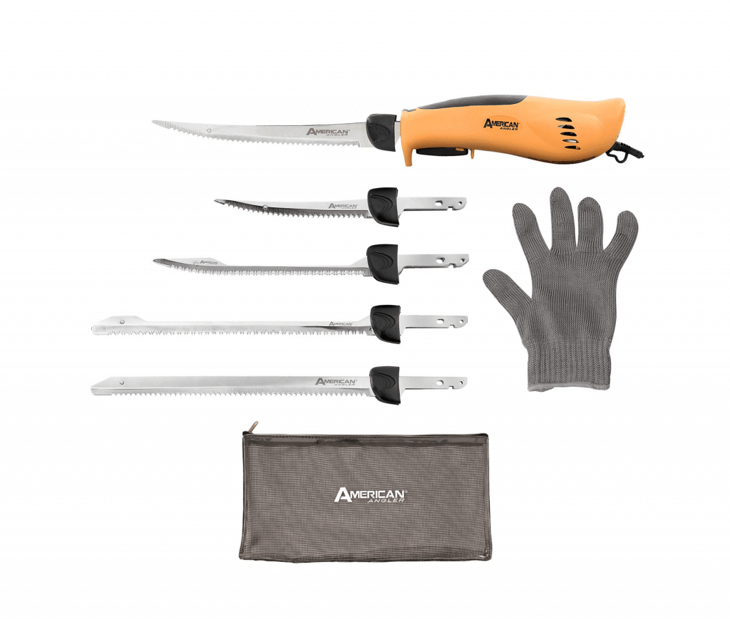 American Angler PRO Professional Grade Electric Fillet Knife Sportsmen's Kit 110 Volt High Performance Ergonomic Motorized Handset with Five Kinds of Stainless Steel Blades