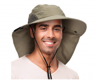 Solaris Outdoor Fishing Hat with Ear Neck Flap Cover Wide Brim Sun Protection Safari Cap
