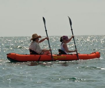Up close image of fisherwomen in kayak