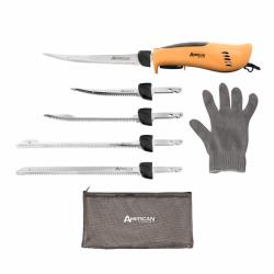 American Angler PRO professional grade electric fillet knife sportsmen's kit 110 volt high performance ergonomic motorized handset with five kinds of stainless steel blades